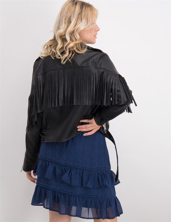 Colourful Rebel Alanna pu fringe biker jacket 9013