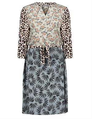 Geisha Dress combi print animal & leaves 17138-20