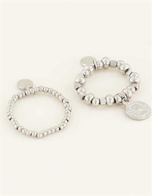 My Jewellery Stretch ringen set met muntje MJ04333