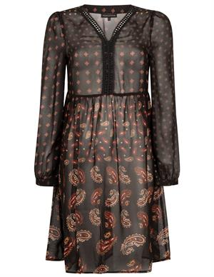 Tramontana Dress Dark Bohemian Print C06-96-501